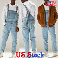 Men's Slim Denim Straight Overalls Jumpsuits Suspender Bib Pants Trousers Jeans