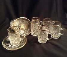 Soga Glass Japan, Demitasse Cup and Saucers, Embossed Roses and Trimmed In Gold