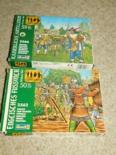 2 VINTAGE UNBUILT REVELL ENGLISH FOOT SOLDIERS-IMPERIAL ARTILLERY FIGURES 1/72