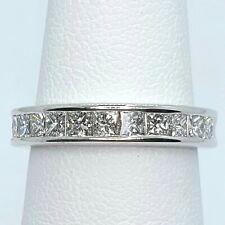 Cut Diamond Wedding Band Size 6.5 High Quality 18K White Gold And Princess