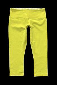 Women's LULULEMON Wunder Under Sizzle Yellow Stripe Crop Pants Leggings size 8