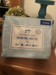 Southern Tide Coastline Collection King Sheet Set Sunlight  Blue ~ NEW