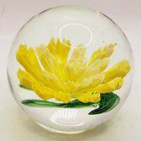 MURANO ART GLASS Yellow Flower PAPERWEIGHT