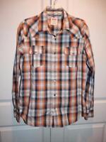 Men's LEVI'S Orange & Blue Plaid Long Sleeve Button Down Dress Shirt Size Large