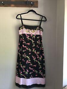 GORGEOUS Philosophy di Alberta Ferretti Black Floral Slip Dress US Size 4