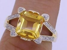 R239- Genuine 9ct Solid Gold NATURAL Citrine &  Diamond Ring Love Hearts size M