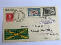 1930 Argentina to Germany Zeppelin Cover Pan America Flight Black Overprints