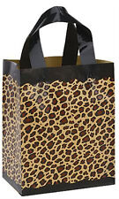 """Count of 25 Medium Frosted Plastic Leopard Print Shopper 8"""" x 5"""" x 10"""""""
