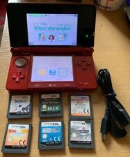 FLAME RED NINTENDO 3DS CONSOLE SYSTEM & 6 GAMES BRAIN TRAINING TOUCHMASTER
