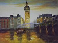 London boats oil painting canvas British English original modern art river