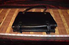Vintage DOFAN FRENCH Black Leather Handbag Purse w/ Brass or Gold Hardware