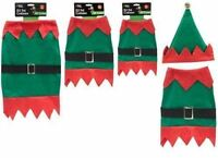 2PC Christmas Elf Pet Dog Puppy Costume Jacket And Hat Festive Outfit Size S M L