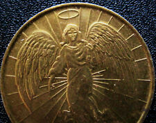 Two-Sided Guardian Angel Medal Religious Catholic Gold Toned Pocket Medallion E