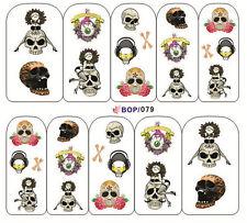 Nail Art Sticker Water Decals Transfer Stickers Halloween Skull Gothic (BOP79)