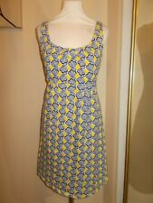 BODEN DRESS 10R Blue Yellow Shell Beach Jersey Sleeveless Summer Sundress VGC