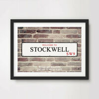 STOCKWELL SW9 London Postcode Area ART PRINT Poster District Borough Sign Wall