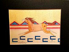 """SIGNED & MATTED PRINT BY COCHITI ARTIST DOMINIC ARQUERO """"RUNNING HORSE"""" DATED 02"""