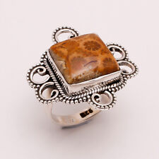 925 Sterling Silver Ring US 6.5, Natural Fossil Coral Gemstone Jewelry CR319