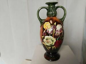 Vintage continental vase impressed 1763 hand painted flowers Art Nouveau