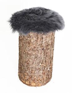 Lammfell-Kissen rund / Stuhlauflage / Sitzkissen Ø Fell ca. 45 cm