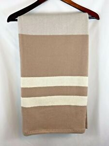 Williams Sonoma Cashmere Wool Blend Throw Blanket Brown Gray Stripe NWT