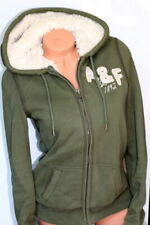 Women's 💗 Abercrombie Fur Zipper Zip Up Large Green hoodie sweatshirt 💗 A&F