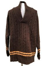 NEW & LINGWOOD MEN'S BROWN CASHMERE SHAWL COLLAR SWEATER, XXL, $495