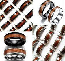 Bulk lot 50pcs Black Silver Men's Wood Grain Inlay Stainless Steel Quality Rings