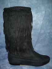 WILD DIVA BLACK SUPER SUEDE WESTERN BOOTS w/ FRINGES  SIZE 6