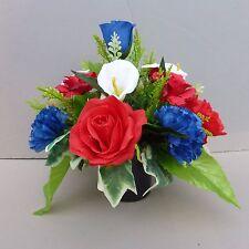 Artificial Flower Arrangement Red /Royal Blue In Pot For Grave/Memorial Vase-04