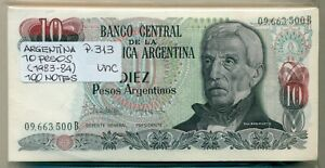 ARGENTINA BUNDLE 100 NOTES 10 PESOS (1983-4) P 313 UNC