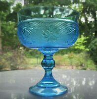Tiara Indiana Glass Regal Blue Sandwich Footed Candy Bowl Compote