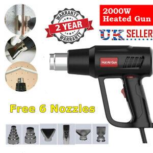 2000W Heat Gun Hot Air Gun Adjustable Temperature Varnish Restoration 6 Nozzles