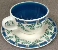 "Pfaltzgraff  Made In USA Sylvan Court Flat Cup & Saucer Set 2 3/4""  Mint"