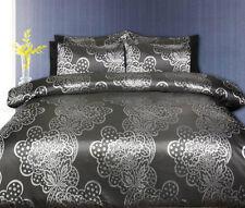 Accessorize Vivienne Silver Black Jacquard KING Size Quilt Doona Cover Set