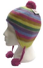Girls Soft Knit Fleece Lined Rainbow Winter Peru Hat
