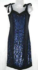 WHISTLES (UK8 / EU36) NAVY AND BLACK SEQUINNED DRESS WITH TIE STRAPS - NEW