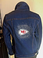 CHIEFS kANSAS CITY NFL Womens BLING DENIM JEAN JACKET NWT $180 SM-4X
