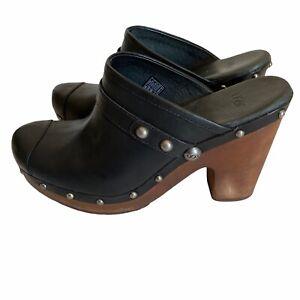 UGG Jolene 3208 Clog Shoes Slip On Slides STUD MULES Leather Black Women's SZ 9