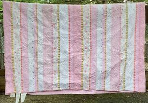 "Pottery Barn Kids Twin Quilt Girls Garden Bed Spread Pink Daisy Florals 86""x 66"""