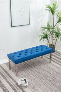 Blue velvet 130cm dining table bench with button detail and metal legs