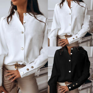 Womens Long Sleeve Button-Down Shirt Ladies Casual Office OL Work Blouse Tops