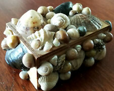 More details for wooden box with shell decorations & hinged lid
