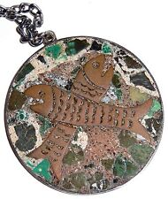 Sterling Silver Copper Fish Pendant Necklace Inlaid Mosaic Stone by JBA Mexico