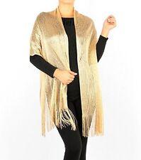 Women's Metallic Fishnet Fringe Scarf Shawl Wrap Party Wedding Shimmer Glitter