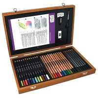 Derwent Academy Pencils Wooden Box Gift Set Colouring WaterSoluble and Sketching