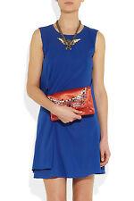 $1590 Auth LANVIN Orange Satin Crystal Embellished EVENING CLUTCH Evening Bag