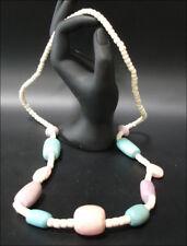 schmuck Halskette Holzkette Natur rosa Türkis 80cm #80
