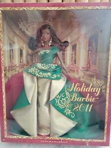 Holiday Barbie 2011 AA African American Black Goddess Face, Emerald Green Gown