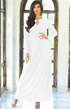 Womens Long Sleeve Modest Flowy Summer Casual Sexy Gown Cocktail Maxi Dress